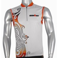 Ironman Sleeveless Unisex Cycle Jersey - Silver/Red