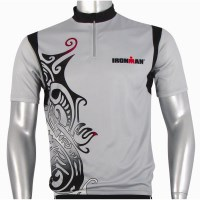 Ironman Short Sleeve Unisex Cycle Jersey - Silver/Black