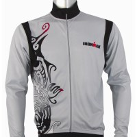 Ironman Long Sleeve Unisex Cycle Jersey - Silver/Black